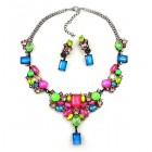 Neon Flame Necklace Set ~ Pink Blue Multicolor ~ Black Plated