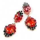 Iris Earrings Pierced ~ Red Black