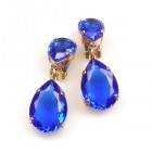Raindrops Earrings Clips ~ Blue