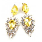 Ella Earrings Pierced ~ Baguettes and Pears ~ Yellow