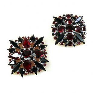 2 pc. Rhinestone Buttons Collection ~ Ruby Black