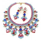 Spice Market Necklace Set ~ Fuchia with Aqua