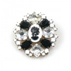Cameo Brooch #2 ~ Black with Clear Crystal