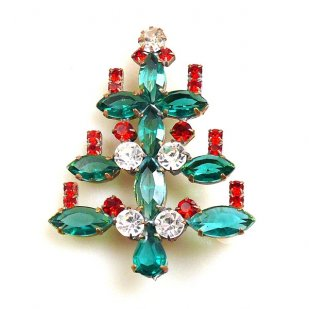 Xmas Tree Brooch #12 ~ Emerald Clear Red