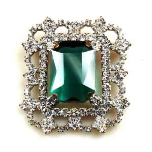 Octagonal Brooch or Pendant ~ Clear Crystal with Emerald
