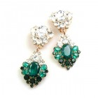 Aztec Sun Earrings Pierced ~ Emerald Clear Crystal
