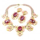 Iris Grande Necklace Set ~ Silver Fuchsia Yellow Pink