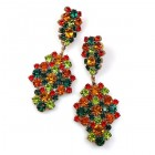 Enigma Earrings for Pierced Ears ~ Green Topaz Red