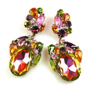 Fiore Pierced Earrings ~ Vitrail Multicolor