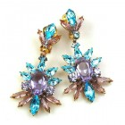 Blush Earrings with Clips ~ Aqua Violet