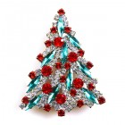 Navette Xmas Tree Brooch ~ Emerad Red