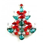 Rivoli Xmas Tree Brooch ~ Red Emerald Clear