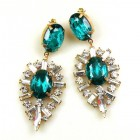 Ella Earrings Pierced ~ Baguettes and Ovals ~ Emerald