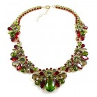 Walla Walla Necklace ~ Olive Green with Red