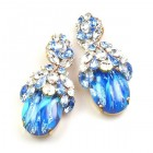 Lucrecia Extra Elipse Earrings Long Pierced ~ Blue