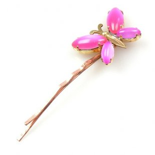 Hairpin Small with Butterfly ~ Neon Pink and Violet