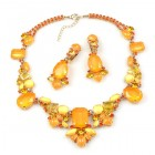 Neon Flare Necklace with Earrings ~ Neon Orange
