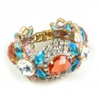 Honey Darling Clamper Bracelet ~ Rose Aqua Crystal