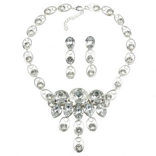 Arwen Necklace Set with Earrings ~ Clear Crystal ~ Silver Plated