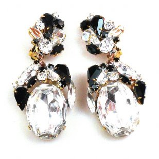 Fiore Clips Earrings ~ Clear Crystal Black
