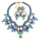 Taj Mahal Necklace Set with Earrings ~ Blue Aqua Violet