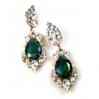 Grand Mythique Earrings for Pierced Ears ~ Crystal Silver Emeral