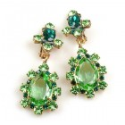 Heritage of History Earrings Clips ~ Peridot Green Emerald