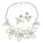 Lotus Flower Necklace Set ~ Clear Crystal ~ Silver Plated