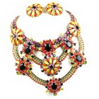 Paramount Bib Necklace Set ~ Yellow Red Fuchsia