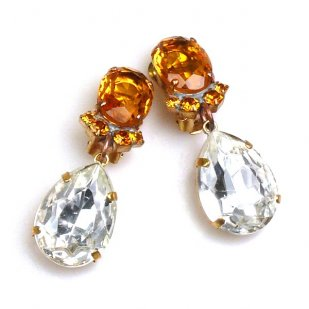 Effervescence Earrings with Clips ~ Clear Crystal Topaz
