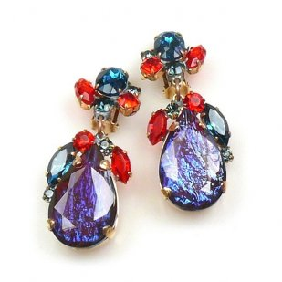 Fountain Multicolor Earrings Clips ~ Silver Violet