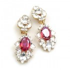 Crystal Gate Clips-on Earrings ~ Silver Fuchsia