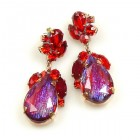 Fountain Multicolor Earrings Pierced ~ Silver Red Fuchsia