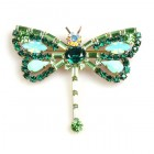 Dragonfly Baguette Stones ~ Emerald Green