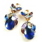 Fountain Clips-on Earrings ~ Colors with Sapphire Blue