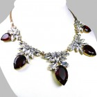 Camilla Necklace ~ Clear Crystal with Silver Ruby