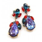 Fountain Multicolor Earrings Pierced ~ Silver Violet
