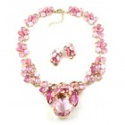 Elipse Necklace Set with Earrings ~ Pink