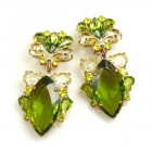 Floralie Earrings with Clips ~ Olive Green with Yellow