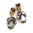 Anna Marie Earrings Clips ~ Smoke Crystal
