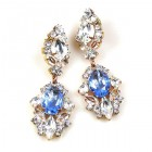 Crystal Gate Pierced Earrings ~ Silver Sapphire
