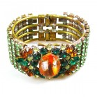 Sunnydance Clamper Bracelet ~ Green with Silver Amber