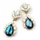 Fountain Clips-on Earrings ~ Crystal with Black Aqua