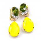 Effervescence Earrings with Clips ~ Opaque Yellow Olive