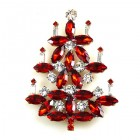 Xmas Tree Brooch #15 ~ Red Clear