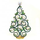 2019 Xmas Tree 16cm Waves and Rondelles ~ Emerald Clear