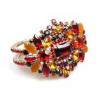 Florence Clamper Bracelet ~ Red Multicolor