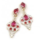 Glamour Drops Earrings Clips ~ Clear Crystal Fuchsia