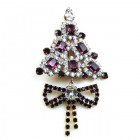 Xmas Tree with Bow Pin ~ Crystal Purple