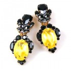 Dragon Eyes Clips-on Earrings ~ Black Opaque Yellow